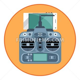 Digital vector blue drone remote control with antenna and mobile phone, in orange circle, flat style - frimufilms.com
