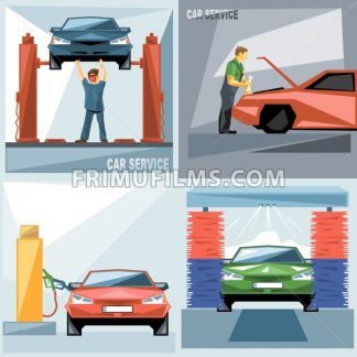 Digital vector blue, green and red auto service car icon set, mechanic fixing, washing and fueling, flat style. - frimufilms.com