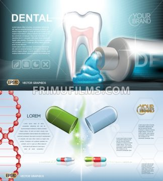 Digital vector blue medicine toothpaste infographics of oral hygiene mockup and tooth structure with pills, with your brand, for print ads or magazine design. White and shine, realistic 3d style - frimufilms.com