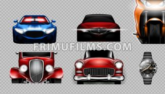 Digital vector blue red and orange sport cars mockup set, bike and metalic watch. Your brand. Isolated. Transparent, realistic 3d, reflection - frimufilms.com