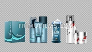 Digital vector blue skin care cream, lotion, shower gel and perfume cosmetic container set mockup collection, your brand package, magazine design. Transparent and shine template, realistic 3d style - frimufilms.com