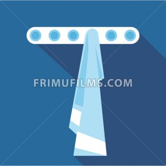 Digital vector blue towel on hanger in bathroom, flat style - frimufilms.com