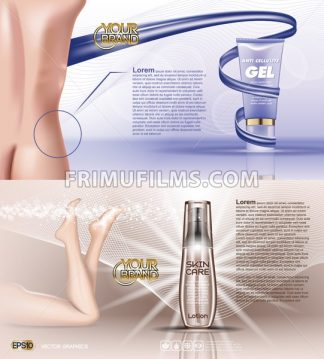 Digital vector blue violet anti cellulite skin care and legs cosmetic container mockup with gel, your brand, for print ads design. Female back. Transparent and shine, realistic 3d style - frimufilms.com