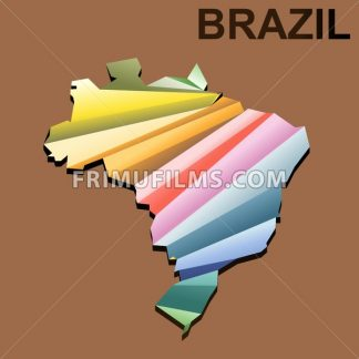 Digital vector brazil map with abstract colored triangles and black outline, 3d style - frimufilms.com