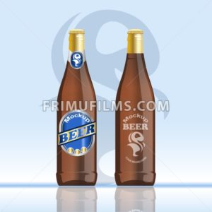 Digital vector brown beer mockup, blue and golden bottle, realistic flat style, isolated and ready for your design and logo - frimufilms.com