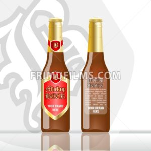 Digital vector brown beer mockup, red and golden bottle, realistic flat style, isolated and ready for your design and logo - frimufilms.com