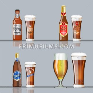 Digital vector brown beer set mockup, red and blue bottle, realistic flat style, isolated and ready for your design and logo - frimufilms.com