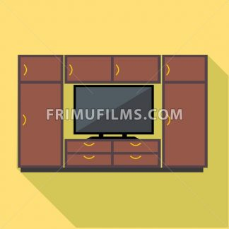 Digital vector brown cabinet furniture and tv set over yellow background isolated, flat style - frimufilms.com