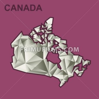 Digital vector canada map with abstract silver triangles and burgundy outline, flat style - frimufilms.com