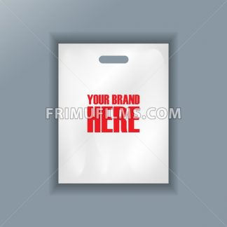 Digital vector cellophane bag plastic mockup, hand held, ready for your logo and design, flat style - frimufilms.com
