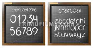 Digital vector charcoal hand drawn alphabet and numbers, on a blackboard with grid, flat style - frimufilms.com