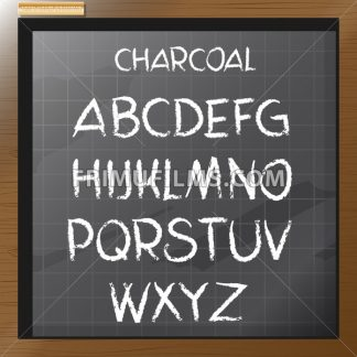 Digital vector charcoal hand drawn alphabet, on a blackboard with grid, flat style - frimufilms.com