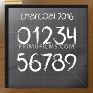 Digital vector charcoal hand drawn numbers, on a blackboard with grid, flat style - frimufilms.com