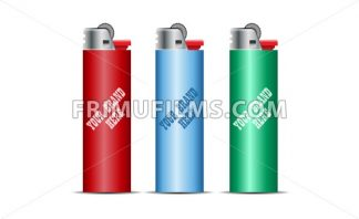 Digital vector cigarette lighter mockup, red, blue and green, realistic flat style, isolated and ready for your design and logo - frimufilms.com