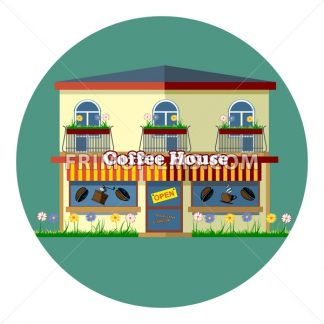 Digital vector coffee house cafe shop with storefront, flowers, windows and beans, flat style - frimufilms.com