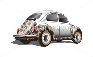 Digital vector colored retro realistic car, back view - frimufilms.com