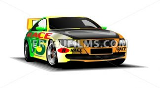 Digital vector colored sport race car, modern and realistic, front view - frimufilms.com