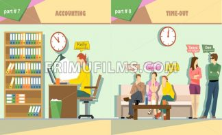 Digital vector company accounting and time out icon set, boss, secretary, web designer, accountant and programmer, flat style - frimufilms.com