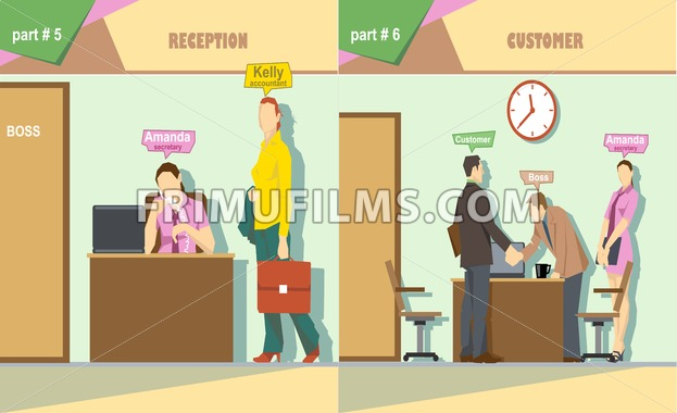 Digital vector company reception and talking to a customer icon set, boss, secretary and accountant, flat style - frimufilms.com