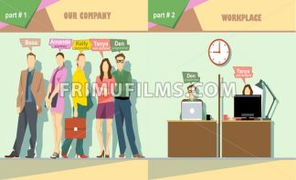 Digital vector company team members and workplace icon set, boss, secretary, accountant, web designer and programmer, flat style - frimufilms.com
