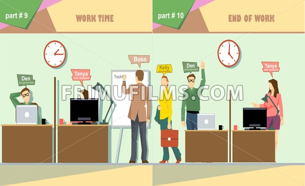 Digital vector company work time and end of work icon set, boss, secretary, web designer, accountant and programmer, flat style - frimufilms.com
