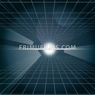 Digital vector cosmic white light and a grid in space, over stelar background, flat style. - frimufilms.com