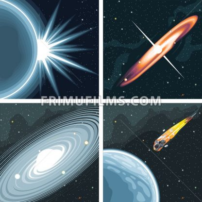 Digital vector cosmos icons set with galaxy, planet earth, commet, milky way and solar system over stelar background, flat style. - frimufilms.com