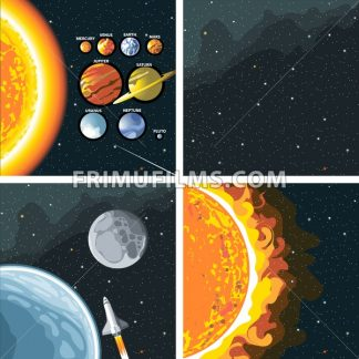 Digital vector cosmos icons set with galaxy, planet earth, shuttle, bright sun and solar system over stelar background, flat style. - frimufilms.com