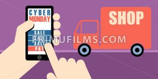 Digital vector cyber monday sale banner design with hands on mobile phone and a shop delivery truck - frimufilms.com