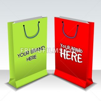 Digital vector empty green and red shopping bags mockup, ready for your logo and design, flat style - frimufilms.com