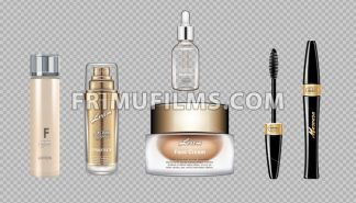 Digital vector eye care cream, eyelash applicator and mascara brush cosmetic container set mockup collection, cream, glass lotion container. Transparent and shine template, realistic 3d style - frimufilms.com