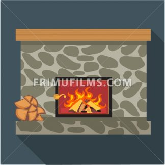 Digital vector fireplace room with burning wood, flat style - frimufilms.com