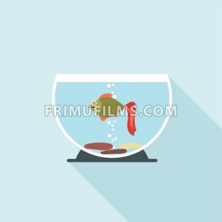 Digital vector fish in aquarium with oxygen bubbles over blue background, flat style - frimufilms.com
