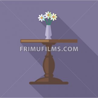 Digital vector flowers in vase on a wooden table, over purple background, flat style - frimufilms.com