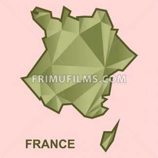 Digital vector france map with abstract khaki triangles, flat style - frimufilms.com