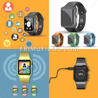 Digital vector gadget, mobile, watch, app and camera icon set, flat style - frimufilms.com