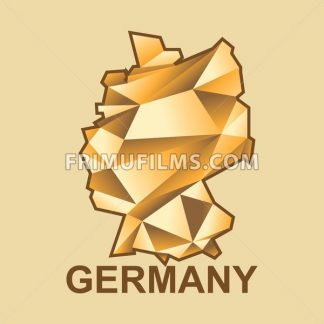 Digital vector germany map with abstract golden triangles and brown outline, flat style - frimufilms.com