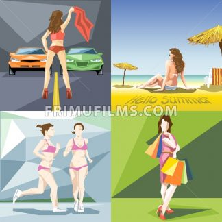 Digital vector girl and woman at the beach, jogging, shopping and racing icon set, flat style - frimufilms.com