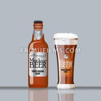 Digital vector glass and bottle of dark brown beer with bubbles mockup, realistic flat style, isolated and ready for your design and logo - frimufilms.com