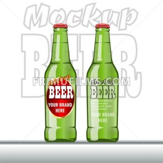 Digital vector glass of beer mockup, green and red bottle, realistic flat style, isolated and ready for your design and logo - frimufilms.com