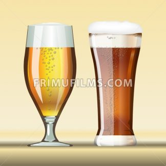 Digital vector glass of brown beer with bubbles and foam mockup, realistic flat style, isolated and ready for your design and logo - frimufilms.com