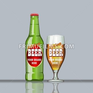 Digital vector glass of brown beer with bubbles mockup, green bottle, realistic flat style, isolated and ready for your design and logo - frimufilms.com