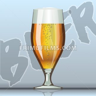 Digital vector glass of brown beer with bubbles mockup, realistic flat style, isolated and ready for your design and logo - frimufilms.com