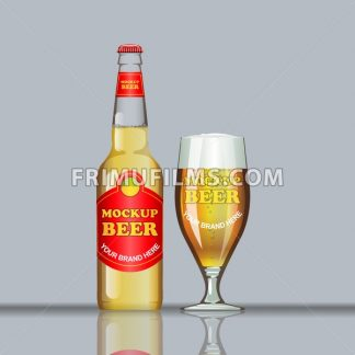 Digital vector glass of brown beer with bubbles mockup, red bottle, realistic flat style, isolated and ready for your design and logo - frimufilms.com