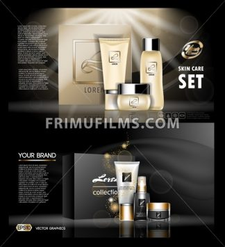 Digital vector golden and black skin care cream, mascara cosmetic container set mockup collection, your brand package, print ads or magazine design. Transparent and shine template, realistic 3d style - frimufilms.com
