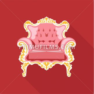 Digital vector golden and pink vintage chair over red background isolated, flat style - frimufilms.com