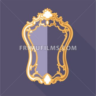 Digital vector golden and purple vintage mirror isolated, flat style - frimufilms.com