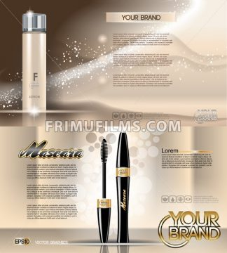 Digital vector golden glass bottle lotion skin tone and mascara mockup, with your brand, ready for print ads or magazine design. Transparent and shine, realistic 3d style - frimufilms.com
