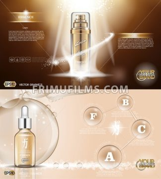 Digital vector golden glass bottle spray essence and creammockup on brown background, with your brand, ready for print ads or magazine design. Transparent and shine, realistic 3d style - frimufilms.com