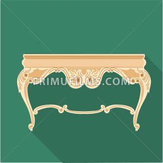 Digital vector golden vintage table isolated on red background, flat style - frimufilms.com
